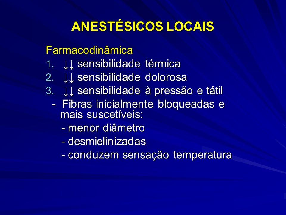 ANESTÉSICOS LOCAIS Farmacodinâmica 1. ↓↓ sensibilidade térmica 2. ↓↓ sensibilidade dolorosa 3. ↓↓ sensibilidade à pressão e tátil - Fibras inicialment