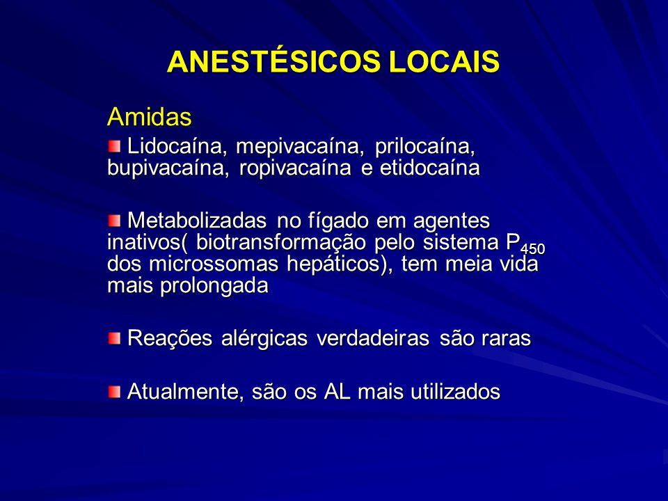 ANESTÉSICOS LOCAIS Amidas Lidocaína, mepivacaína, prilocaína, bupivacaína, ropivacaína e etidocaína Lidocaína, mepivacaína, prilocaína, bupivacaína, ropivacaína e etidocaína Metabolizadas no fígado em agentes inativos( biotransformação pelo sistema P 450 dos microssomas hepáticos), tem meia vida mais prolongada Metabolizadas no fígado em agentes inativos( biotransformação pelo sistema P 450 dos microssomas hepáticos), tem meia vida mais prolongada Reações alérgicas verdadeiras são raras Reações alérgicas verdadeiras são raras Atualmente, são os AL mais utilizados Atualmente, são os AL mais utilizados