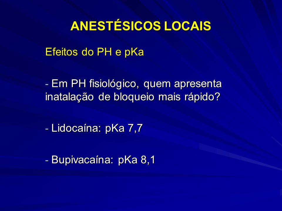 ANESTÉSICOS LOCAIS Efeitos do PH e pKa - Em PH fisiológico, quem apresenta inatalação de bloqueio mais rápido? - Lidocaína: pKa 7,7 - Bupivacaína: pKa