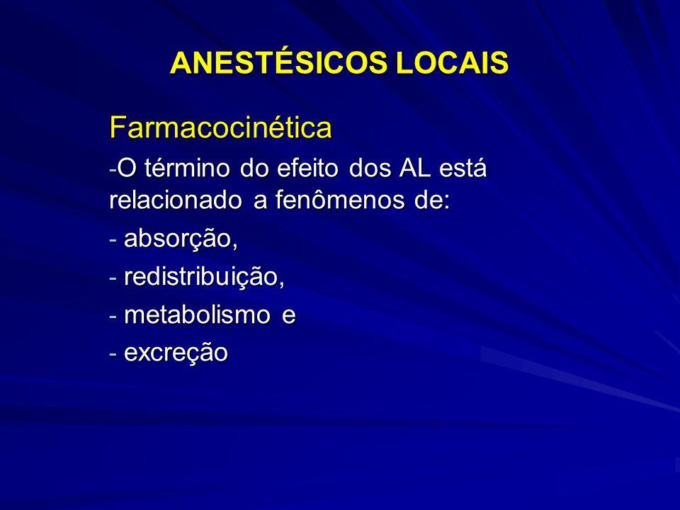 ANESTÉSICOS LOCAIS Farmacocinética - O término do efeito dos AL está relacionado a fenômenos de: - absorção, - redistribuição, - metabolismo e - excre