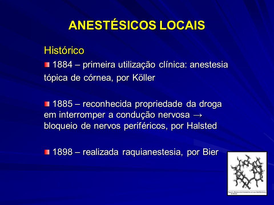 ANESTÉSICOS LOCAIS Histórico 1884 – primeira utilização clínica: anestesia 1884 – primeira utilização clínica: anestesia tópica de córnea, por Köller