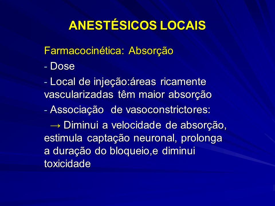 ANESTÉSICOS LOCAIS Farmacocinética: Absorção - Dose - Local de injeção:áreas ricamente vascularizadas têm maior absorção - Associação de vasoconstrict