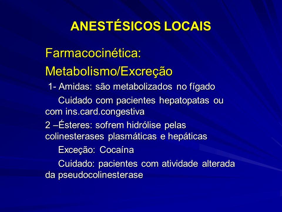 ANESTÉSICOS LOCAIS Farmacocinética:Metabolismo/Excreção 1- Amidas: são metabolizados no fígado 1- Amidas: são metabolizados no fígado Cuidado com pacientes hepatopatas ou com ins.card.congestiva Cuidado com pacientes hepatopatas ou com ins.card.congestiva 2 –Ésteres: sofrem hidrólise pelas colinesterases plasmáticas e hepáticas Exceção: Cocaína Exceção: Cocaína Cuidado: pacientes com atividade alterada da pseudocolinesterase Cuidado: pacientes com atividade alterada da pseudocolinesterase