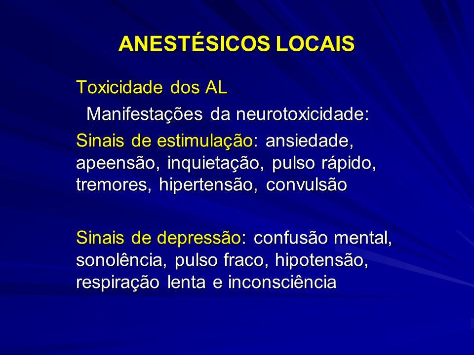 ANESTÉSICOS LOCAIS Toxicidade dos AL Manifestações da neurotoxicidade: Manifestações da neurotoxicidade: Sinais de estimulação: ansiedade, apeensão, inquietação, pulso rápido, tremores, hipertensão, convulsão Sinais de depressão: confusão mental, sonolência, pulso fraco, hipotensão, respiração lenta e inconsciência