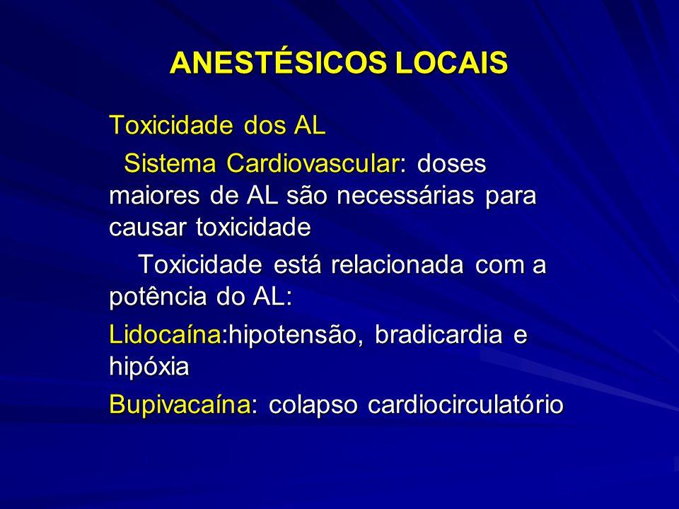 ANESTÉSICOS LOCAIS Toxicidade dos AL Sistema Cardiovascular: doses maiores de AL são necessárias para causar toxicidade Sistema Cardiovascular: doses maiores de AL são necessárias para causar toxicidade Toxicidade está relacionada com a potência do AL: Toxicidade está relacionada com a potência do AL: Lidocaína:hipotensão, bradicardia e hipóxia Bupivacaína: colapso cardiocirculatório