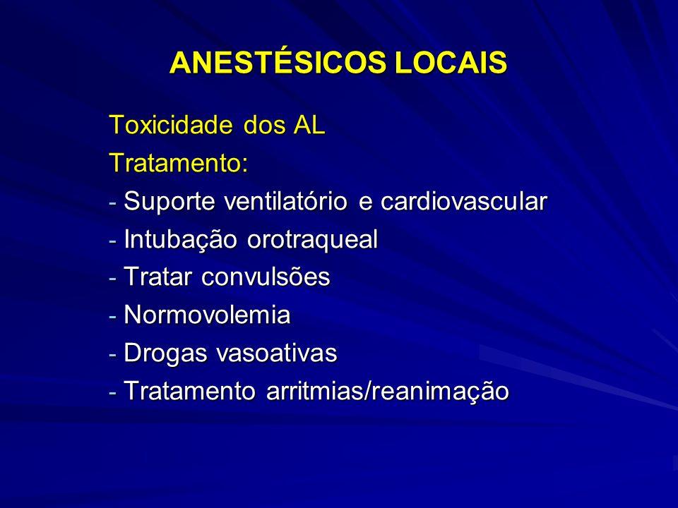 ANESTÉSICOS LOCAIS Toxicidade dos AL Tratamento: - Suporte ventilatório e cardiovascular - Intubação orotraqueal - Tratar convulsões - Normovolemia - Drogas vasoativas - Tratamento arritmias/reanimação