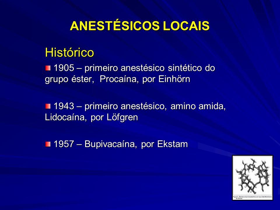 ANESTÉSICOS LOCAIS Histórico 1905 – primeiro anestésico sintético do grupo éster, Procaína, por Einhörn 1905 – primeiro anestésico sintético do grupo éster, Procaína, por Einhörn 1943 – primeiro anestésico, amino amida, Lidocaína, por Löfgren 1943 – primeiro anestésico, amino amida, Lidocaína, por Löfgren 1957 – Bupivacaína, por Ekstam 1957 – Bupivacaína, por Ekstam