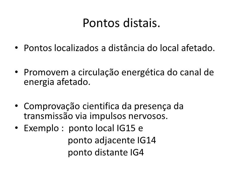 Pontos distais. Pontos localizados a distância do local afetado. Promovem a circulação energética do canal de energia afetado. Comprovação cientifica