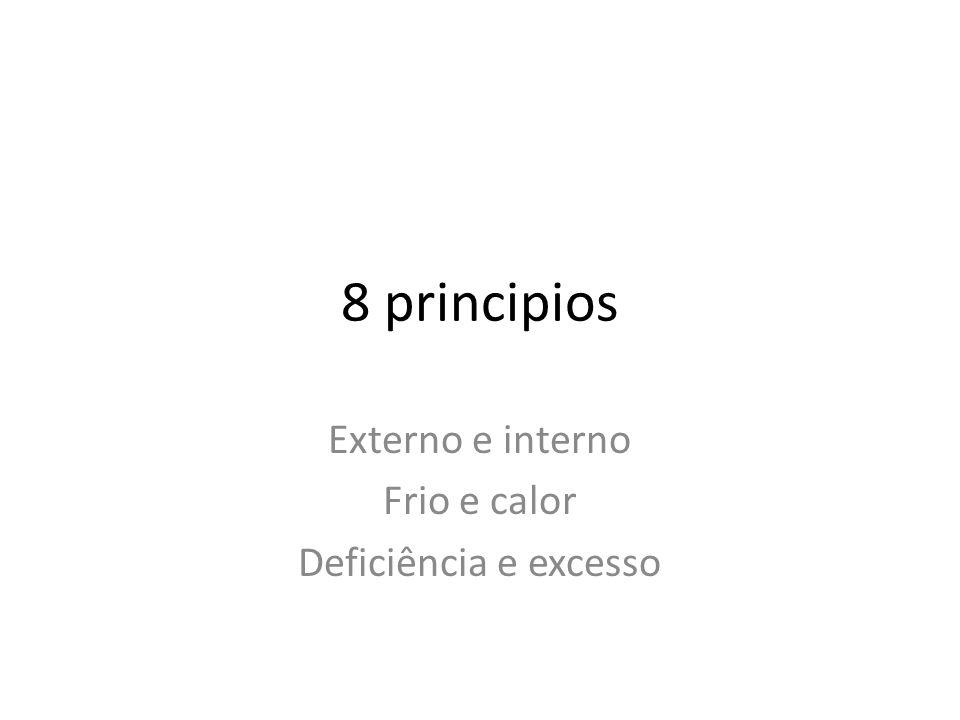 8 principios Externo e interno Frio e calor Deficiência e excesso