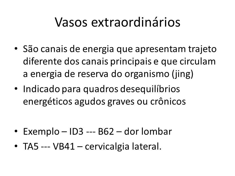 Vasos extraordinários São canais de energia que apresentam trajeto diferente dos canais principais e que circulam a energia de reserva do organismo (jing) Indicado para quadros desequilíbrios energéticos agudos graves ou crônicos Exemplo – ID3 --- B62 – dor lombar TA5 --- VB41 – cervicalgia lateral.