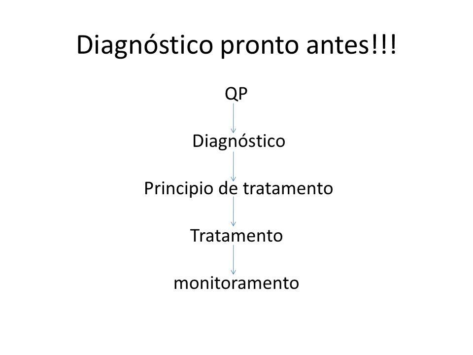 Diagnóstico pronto antes!!! QP Diagnóstico Principio de tratamento Tratamento monitoramento