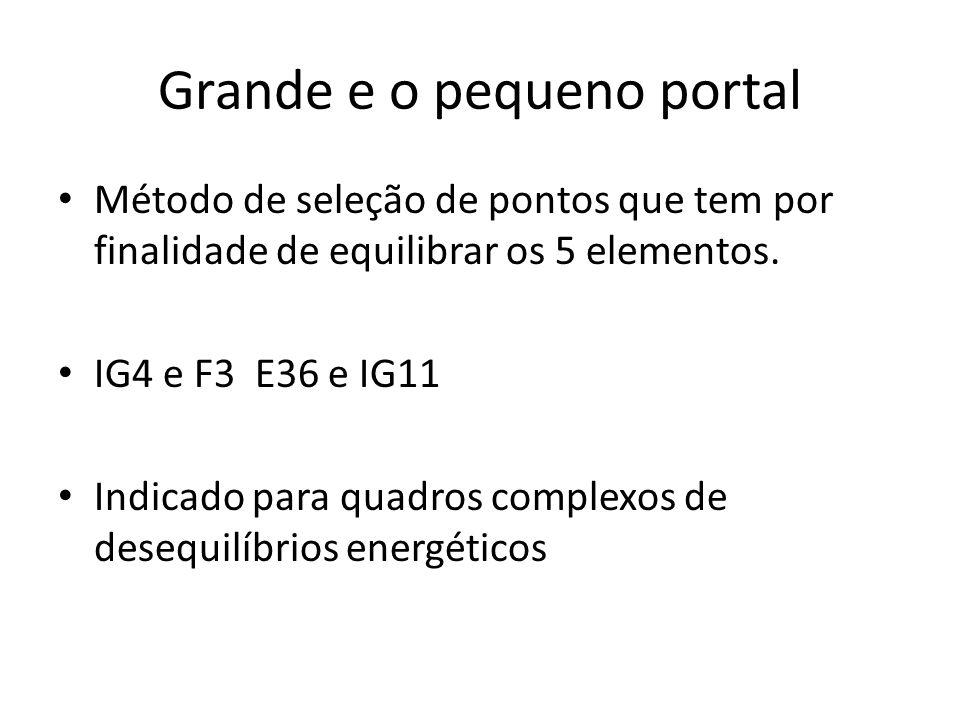 Grande e o pequeno portal Método de seleção de pontos que tem por finalidade de equilibrar os 5 elementos. IG4 e F3 E36 e IG11 Indicado para quadros c