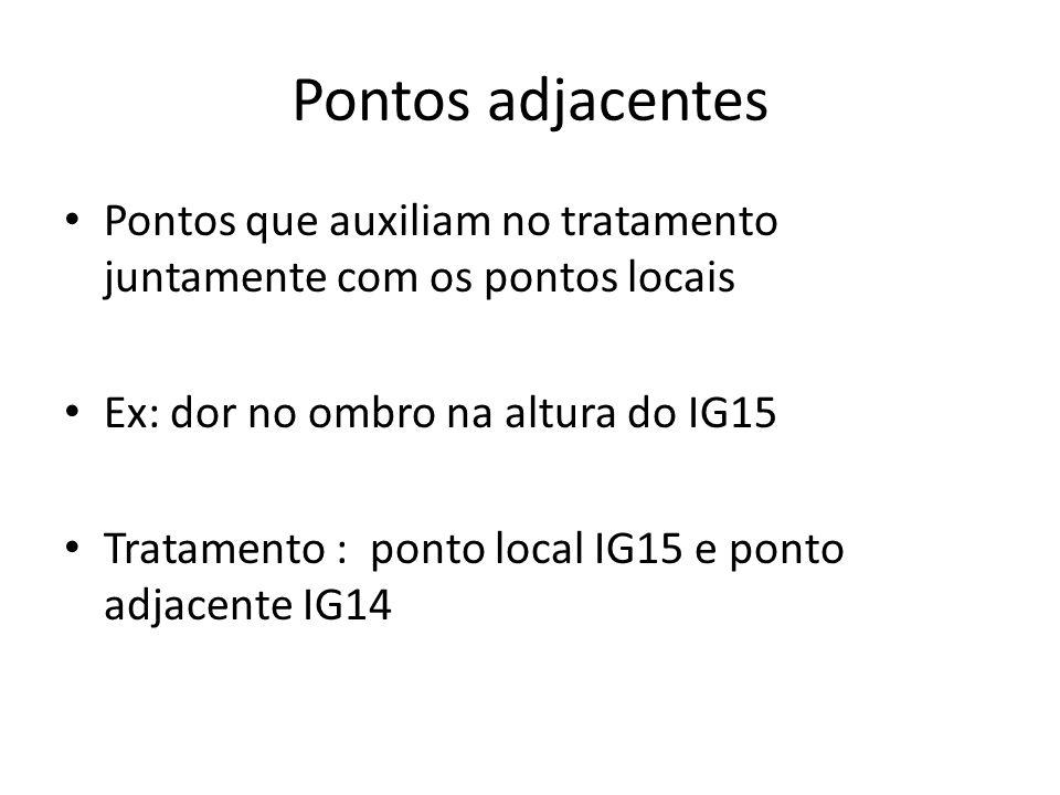 Pontos adjacentes Pontos que auxiliam no tratamento juntamente com os pontos locais Ex: dor no ombro na altura do IG15 Tratamento : ponto local IG15 e ponto adjacente IG14