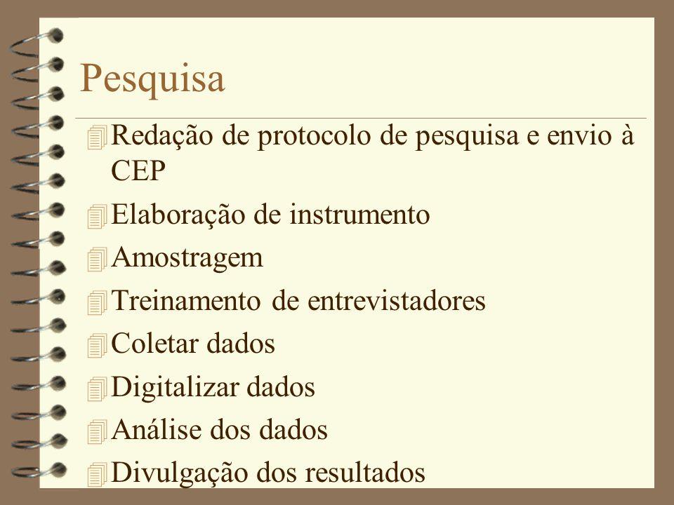 Pesquisa 4 Redação de protocolo de pesquisa e envio à CEP 4 Elaboração de instrumento 4 Amostragem 4 Treinamento de entrevistadores 4 Coletar dados 4