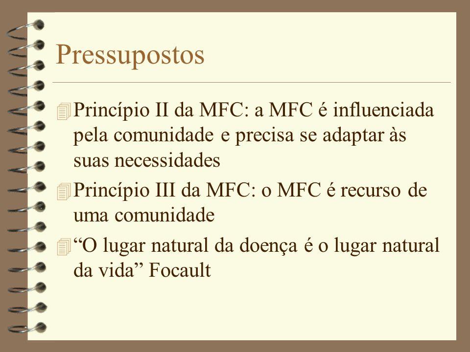Pressupostos 4 Princípio II da MFC: a MFC é influenciada pela comunidade e precisa se adaptar às suas necessidades 4 Princípio III da MFC: o MFC é rec