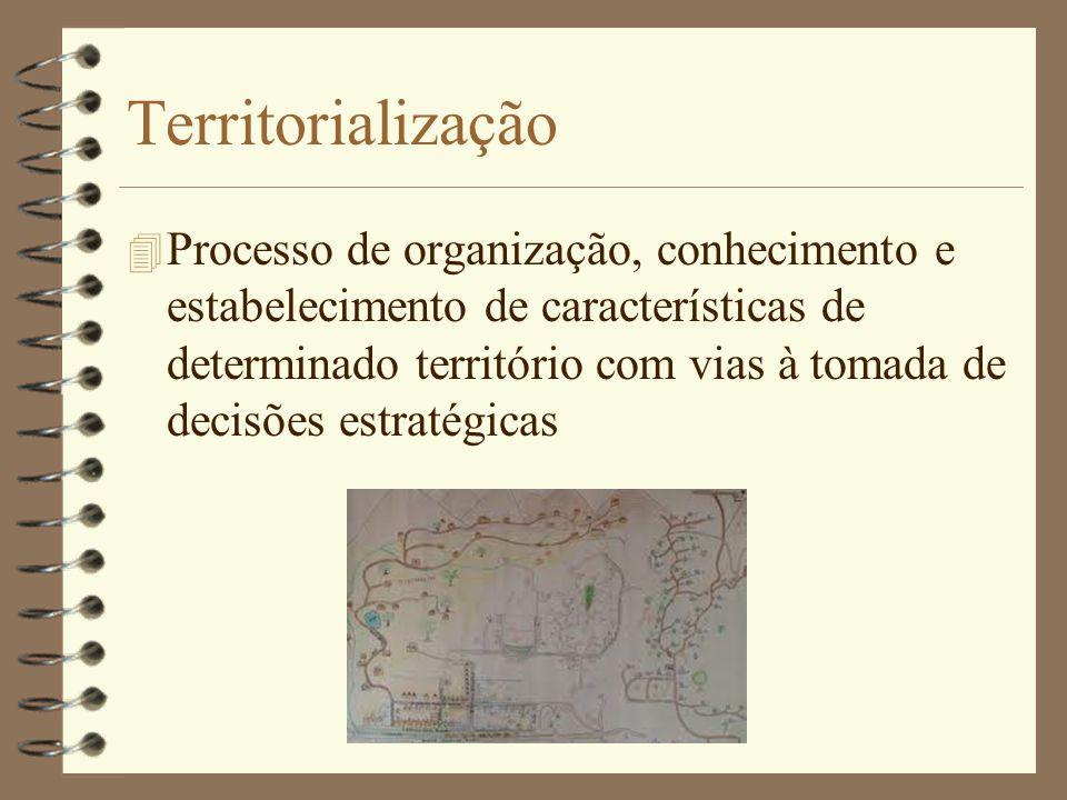 Territorialização 4 Processo de organização, conhecimento e estabelecimento de características de determinado território com vias à tomada de decisões