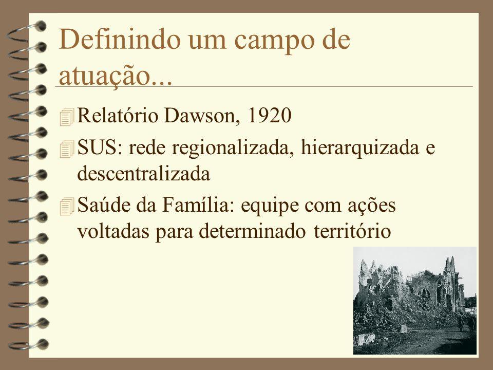 Definindo um campo de atuação... 4 Relatório Dawson, 1920 4 SUS: rede regionalizada, hierarquizada e descentralizada 4 Saúde da Família: equipe com aç