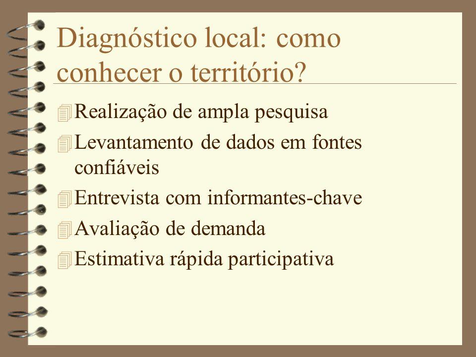 Diagnóstico local: como conhecer o território? 4 Realização de ampla pesquisa 4 Levantamento de dados em fontes confiáveis 4 Entrevista com informante