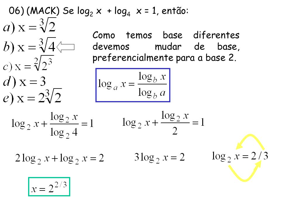 07) (CEFET-PR) Sendo a > 1, os valores de x que satisfazem a desigualdade log a (2x - 2) > log a (x – 3) são: a) x > 3 b) x > 0 c) x  1 d) 0 < x < 3 e) x < 0 Lembre: EM INEQUAÇÕES DEVEMOS PRIMEIRAMENTE DETERMINAR O DOMÍNIO.