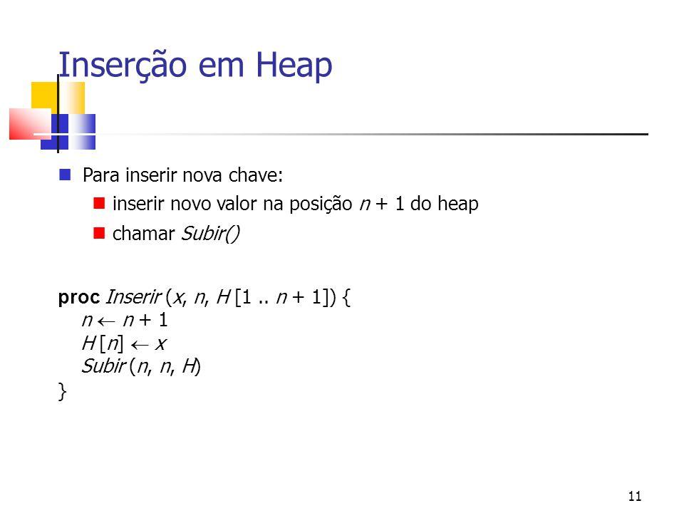 11 Inserção em Heap Para inserir nova chave: inserir novo valor na posição n + 1 do heap chamar Subir() proc Inserir (x, n, H [1.. n + 1]) { n  n +