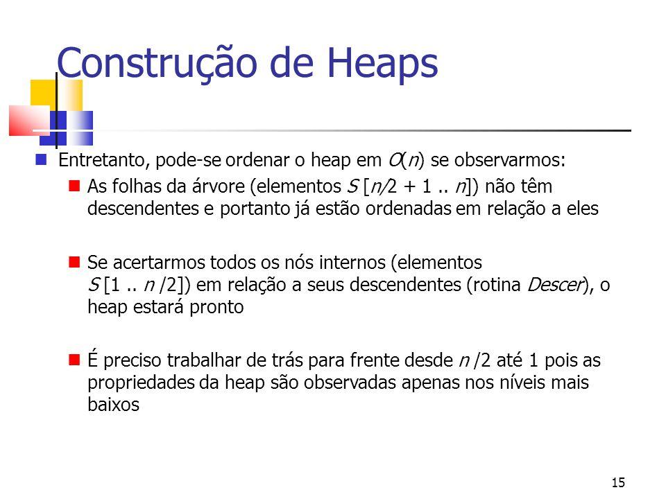 15 Construção de Heaps Entretanto, pode-se ordenar o heap em O(n) se observarmos: As folhas da árvore (elementos S [n/2 + 1.. n]) não têm descendentes