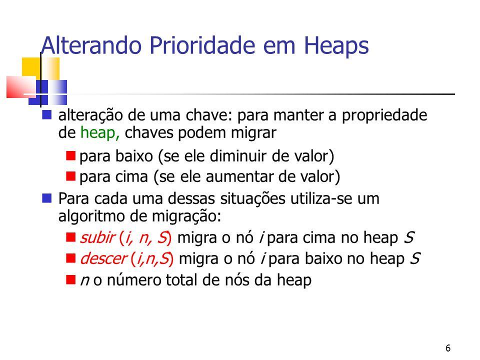 6 Alterando Prioridade em Heaps alteração de uma chave: para manter a propriedade de heap, chaves podem migrar para baixo (se ele diminuir de valor) para cima (se ele aumentar de valor) Para cada uma dessas situações utiliza-se um algoritmo de migração: subir (i, n, S) migra o nó i para cima no heap S descer (i,n,S) migra o nó i para baixo no heap S n o número total de nós da heap