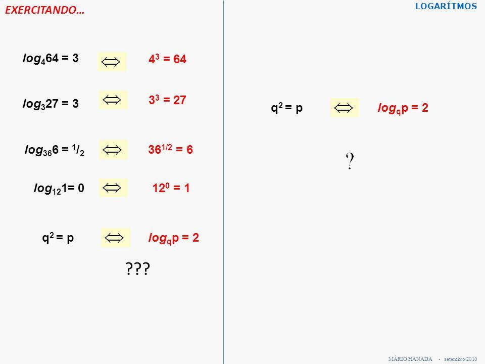 EXERCITANDO… log 4 64 = 3 4 3 = 64 log 3 27 = 3 3 3 = 27 log 36 6 = 1 / 2 36 1/2 = 6 log 12 1= 012 0 = 1 q 2 = plog q p = 2 q 2 = plog q p = 2 MÁRIO H