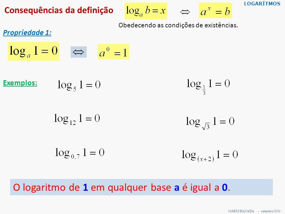 Consequências da definição MÁRIO HANADA - setembro/2010 LOGARÍTMOS Propriedade 1: Exemplos: O logaritmo de 1 em qualquer base a é igual a 0. Obedecend