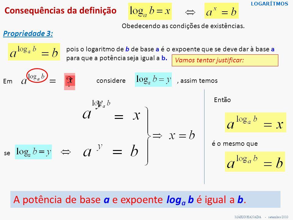 Consequências da definição MÁRIO HANADA - setembro/2010 LOGARÍTMOS Propriedade 3: A potência de base a e expoente log a b é igual a b. Obedecendo as c