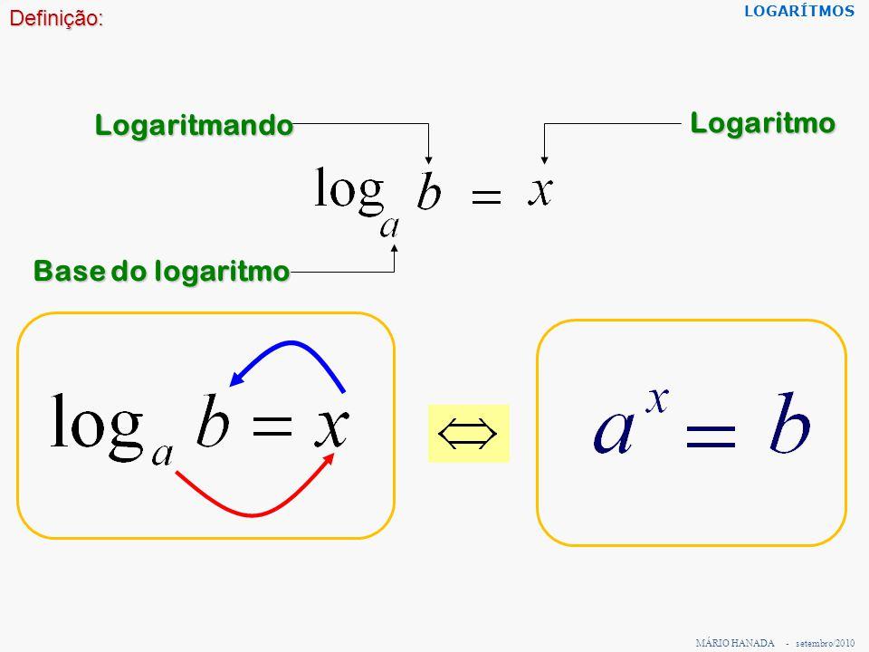 MÁRIO HANADA - setembro/2010 LOGARÍTMOS Exemplos: Calcule pela definição os seguintes logaritmos: 1) Calcular logaritmo de 25 na base 5 é: Portanto o logaritmo de 25 na base 5 é 2, pois 5 2 = 25