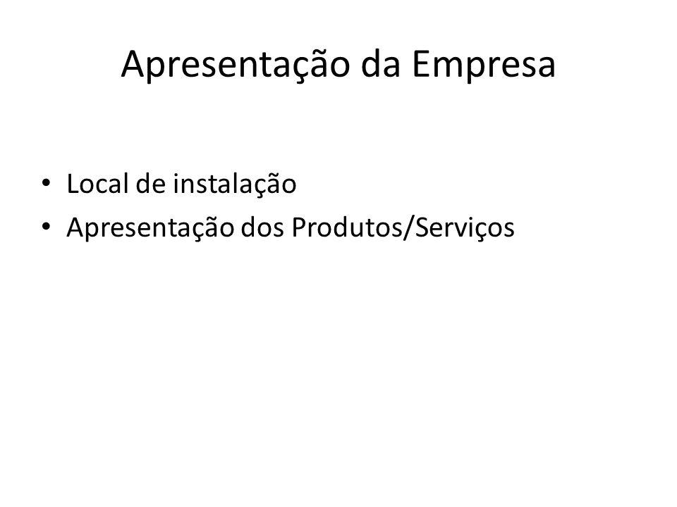 Apresentação da Empresa Local de instalação Apresentação dos Produtos/Serviços
