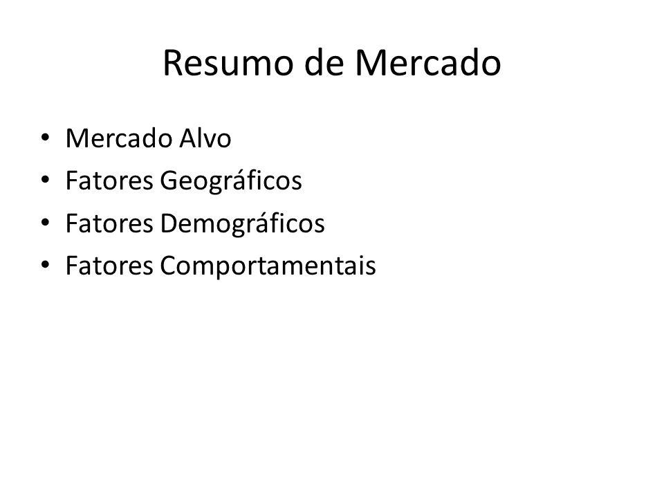 Resumo de Mercado Mercado Alvo Fatores Geográficos Fatores Demográficos Fatores Comportamentais