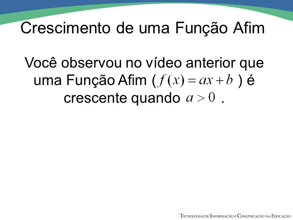 Você observou no vídeo anterior que uma Função Afim ( ) é crescente quando.