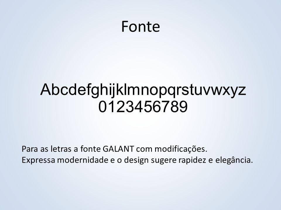 Fonte Abcdefghijklmnopqrstuvwxyz 0123456789 Para as letras a fonte GALANT com modificações. Expressa modernidade e o design sugere rapidez e elegância