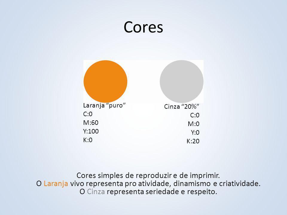 """Cores Laranja """"puro"""" C:0 M:60 Y:100 K:0 Cinza """"20%"""" C:0 M:0 Y:0 K:20 Cores simples de reproduzir e de imprimir. O Laranja vivo representa pro atividad"""