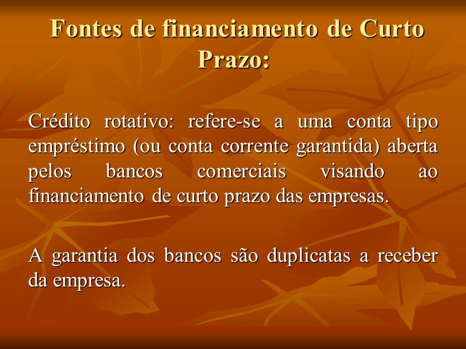 Fontes de financiamento de Curto Prazo: Fontes de financiamento de Curto Prazo: Crédito rotativo: refere-se a uma conta tipo empréstimo (ou conta corr