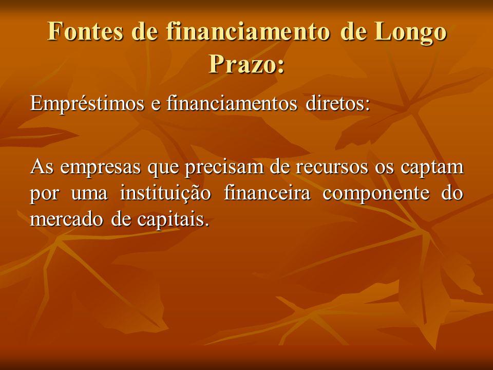 Fontes de financiamento de Longo Prazo: Empréstimos e financiamentos diretos: As empresas que precisam de recursos os captam por uma instituição finan