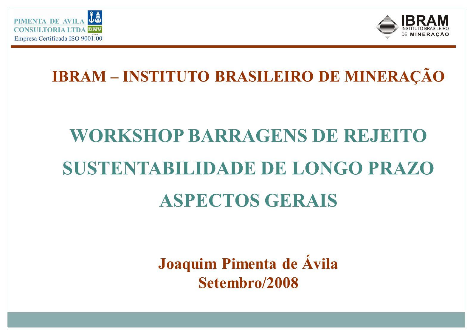 IBRAM – INSTITUTO BRASILEIRO DE MINERAÇÃO WORKSHOP BARRAGENS DE REJEITO SUSTENTABILIDADE DE LONGO PRAZO ASPECTOS GERAIS Joaquim Pimenta de Ávila Setem