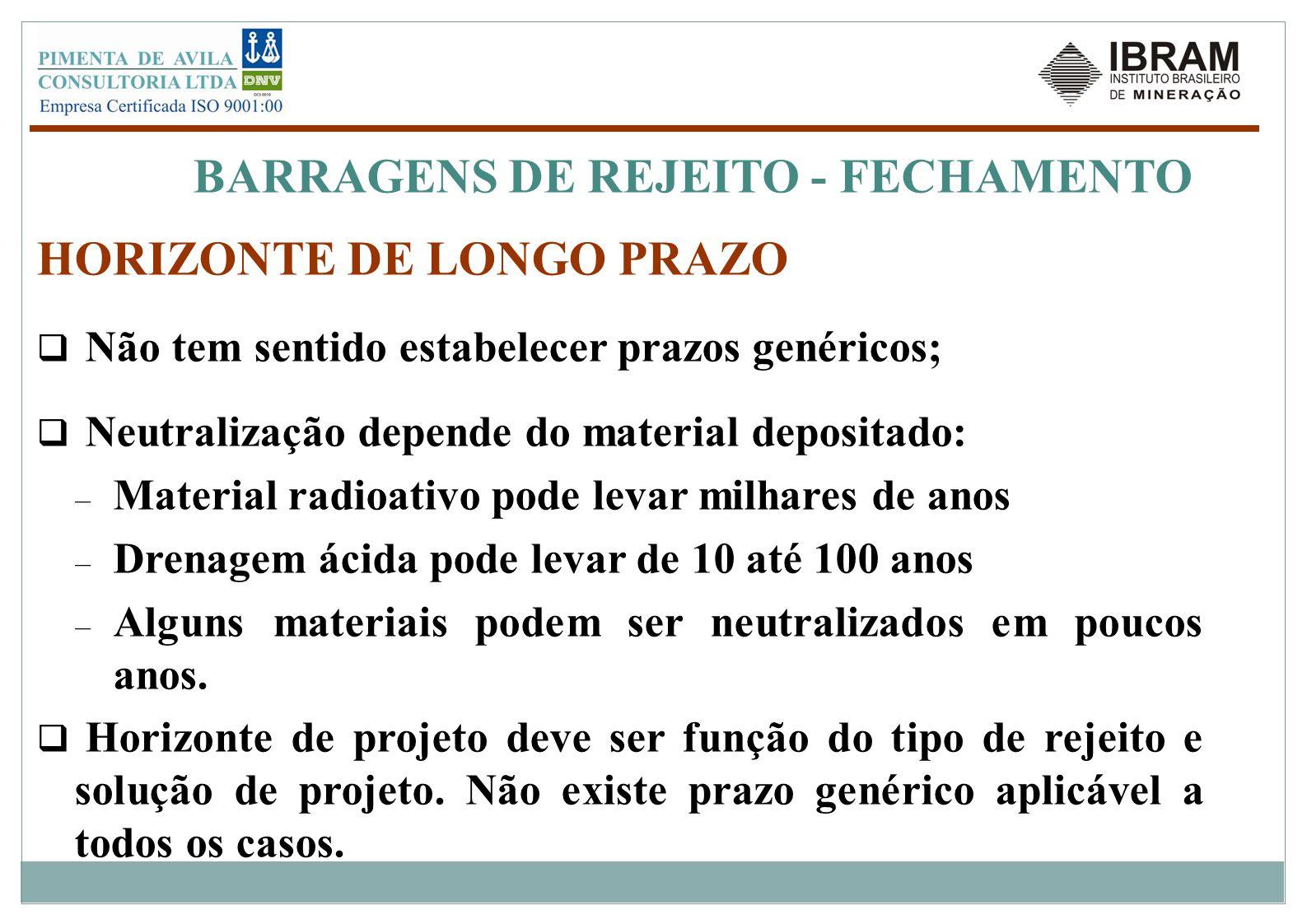 BARRAGENS DE REJEITO - FECHAMENTO Sustentabilidade requer mitigação dos riscos de degradação pelos agentes externos AGENTECONSEQUENCIAS ALTA PRECIPITAÇÃO E ENCHENTESGALGAMENTO/ RUPTURA – LIBERAÇÃO DE REJEITOSPARA O AMBIENTE TERREMOTOSLIQUEFAÇÃO DE REJEITOS EROSÃO EÓLICAEXPOSIÇÃO E CARREAMENTO DE REJEITOS EROSÃO PELA ÁGUACARREAMENTO DE REJEITOS, DEGRADAÇÃO DE COBERTURAS AÇÃO DE NEVEPENETRAÇÃO DA NEVE PERCOLAÇÃO/CONTAMINAÇÃOSATURAÇÃO, INSTABILIZAÇÃO DOS TALUDES QUIMICA DE DRENOSSOLUBILIZAÇÃO E AUMENTO DE PERCOLAÇÃO E EROSÃO INTENSA AGENTES BIOLÓGICOS (RAÍZES, ANIMAIS)ENTUPIMENTO DE DRENOS, RUPTURA DE CAMADAS IMPERMEÁVEIS
