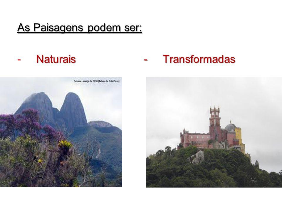 As Paisagens podem ser: Naturais - Transformadas - Naturais - Transformadas