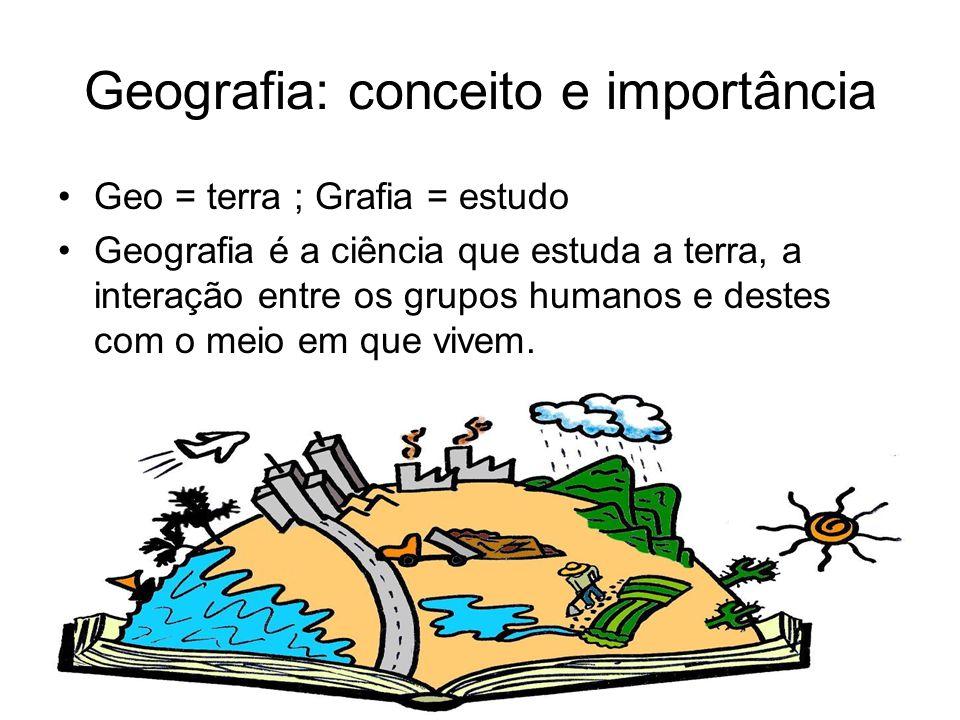Geografia: conceito e importância Geo = terra ; Grafia = estudo Geografia é a ciência que estuda a terra, a interação entre os grupos humanos e destes com o meio em que vivem.