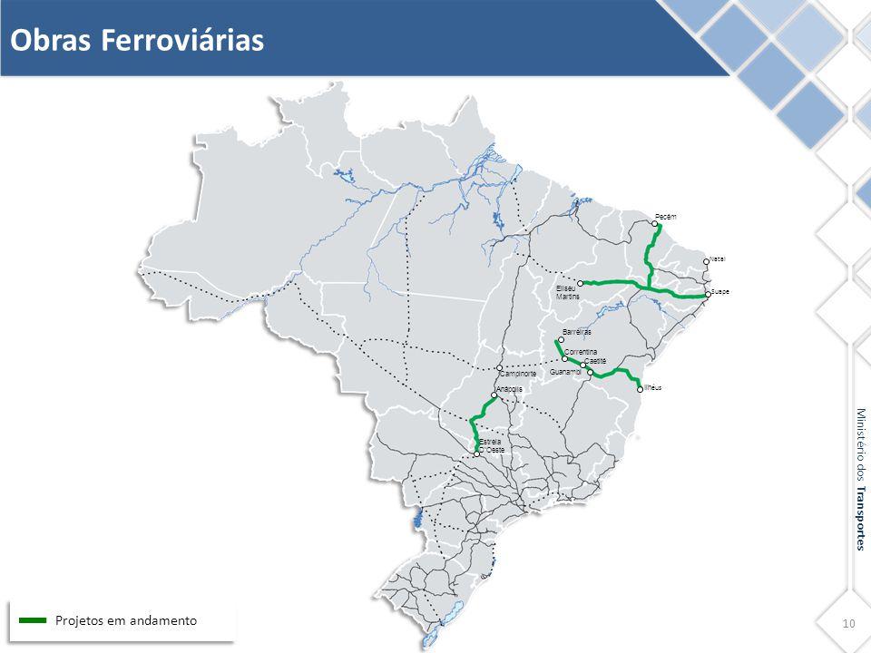 10 Ministério dos Transportes Obras Ferroviárias Projetos em andamento Eliseu Martins Pecém Natal Ilh éus Guanambi Campinorte Anápolis Estrela D'Oeste