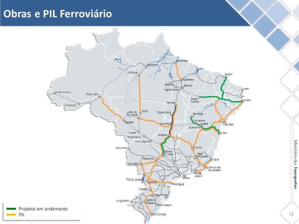 11 Ministério dos Transportes Obras e PIL Ferroviário Projetos em andamento PIL Barcarena Açailândia Santarém Miritituba Sinop Lucas do Rio Verde Sape