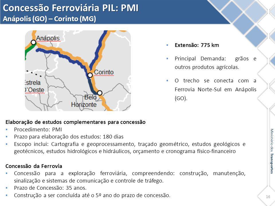 16 Ministério dos Transportes Concessão Ferroviária PIL: PMI Anápolis (GO) – Corinto (MG) Elaboração de estudos complementares para concessão  Proced