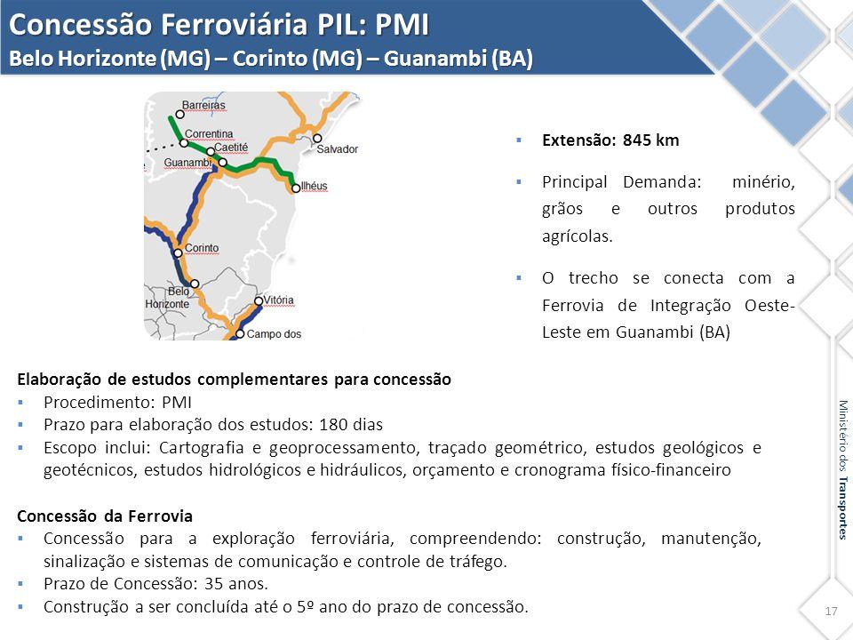 17 Ministério dos Transportes Concessão Ferroviária PIL: PMI Belo Horizonte (MG) – Corinto (MG) – Guanambi (BA) Elaboração de estudos complementares p