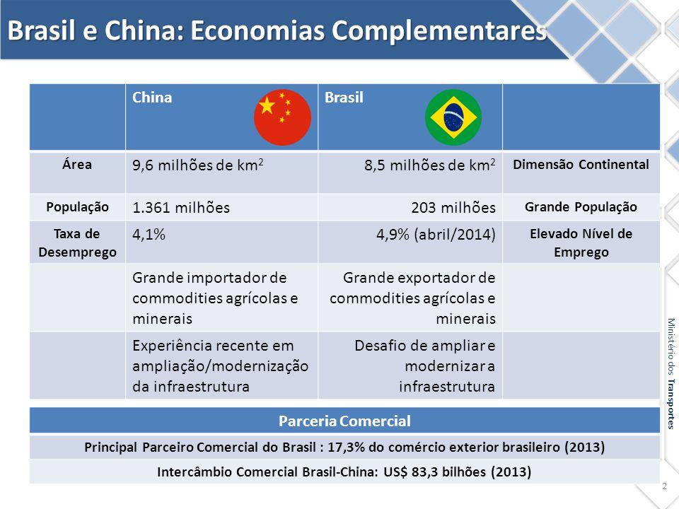 2 ChinaBrasil Área 9,6 milhões de km 2 8,5 milhões de km 2 Dimensão Continental População 1.361 milhões203 milhões Grande População Taxa de Desemprego