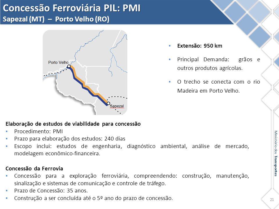 21 Ministério dos Transportes Concessão Ferroviária PIL: PMI Sapezal (MT) – Porto Velho (RO) Elaboração de estudos de viabilidade para concessão  Pro