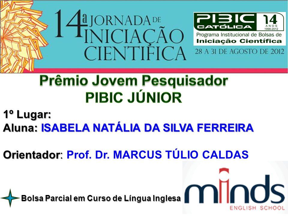 1º Lugar: Aluna: ISABELA NATÁLIA DA SILVA FERREIRA Orientador: Orientador: Prof. Dr. MARCUS TÚLIO CALDAS Bolsa Parcial em Curso de Língua Inglesa