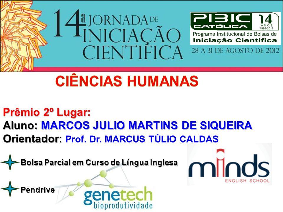 Prêmio 2º Lugar: Aluno: MARCOS JULIO MARTINS DE SIQUEIRA Orientador: Orientador: Prof. Dr. MARCUS TÚLIO CALDAS Pendrive Bolsa Parcial em Curso de Líng