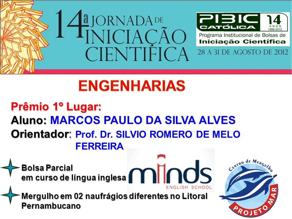 Prêmio 1º Lugar: Aluno: Aluno: MARCOS PAULO DA SILVA ALVES Orientador: Orientador: Prof. Dr. SILVIO ROMERO DE MELO FERREIRA Bolsa Parcial em curso de